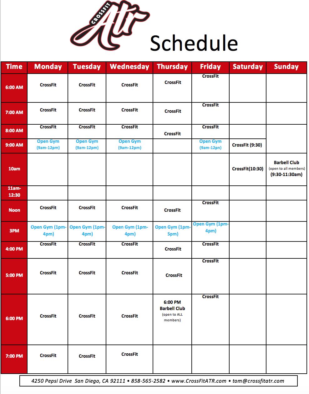 Crossfit ATR Schedule